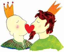 The last image in the book is of the two kings kissing.